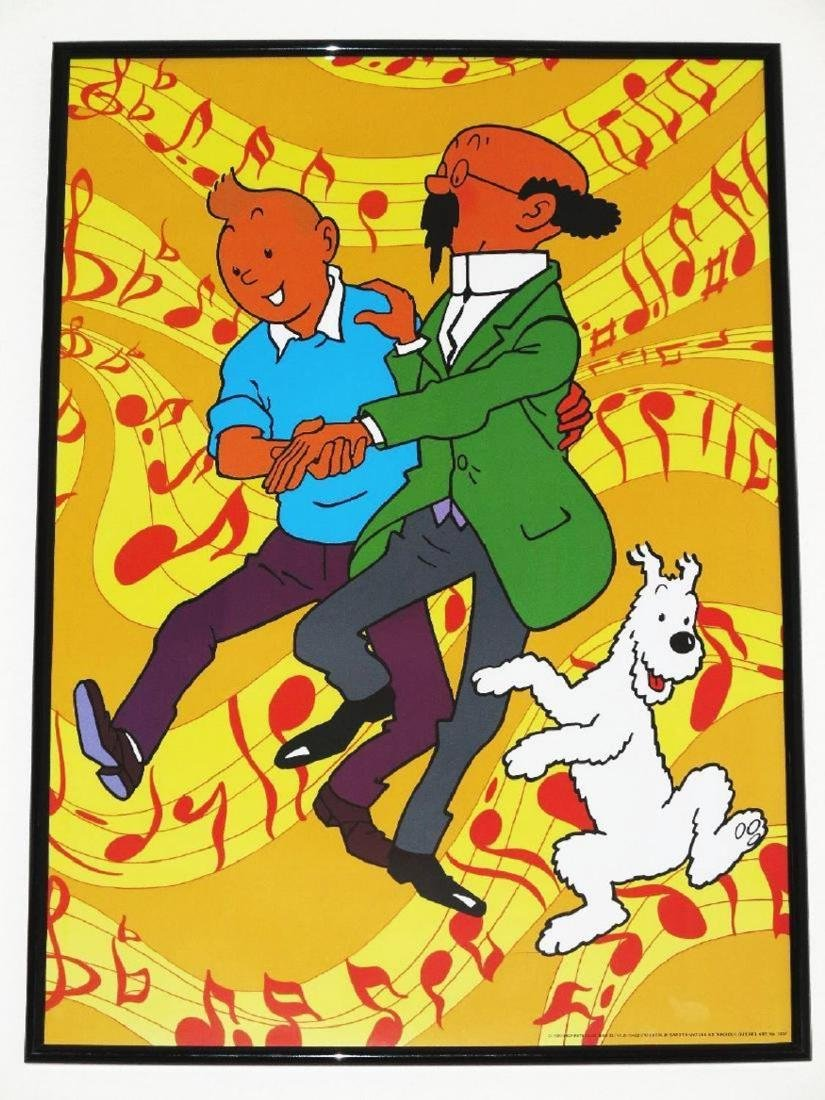 TINTIN ART POSTER 2 LARGE - TIN TIN NOTES PROFESSOR -