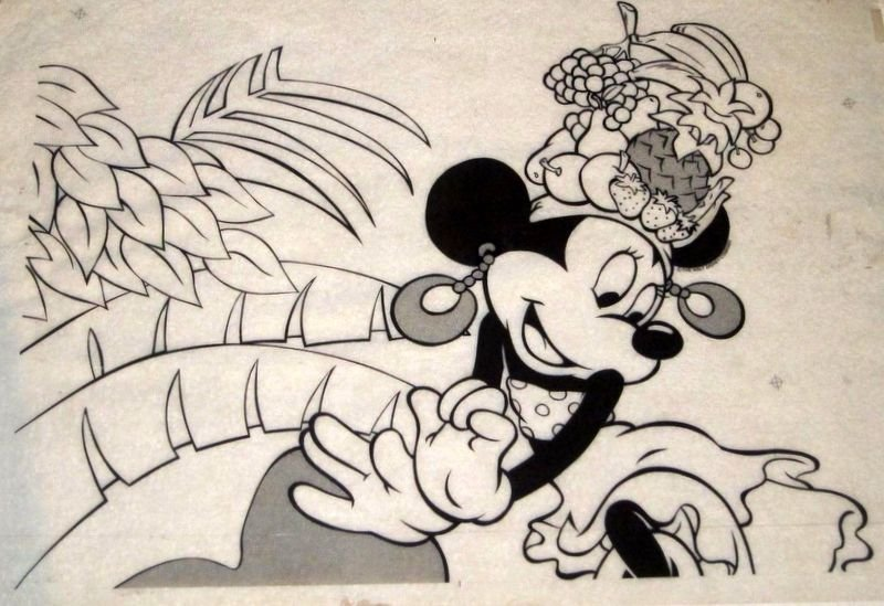 Vintage Walt Disney Minnie Mouse Tropic Animation Cel