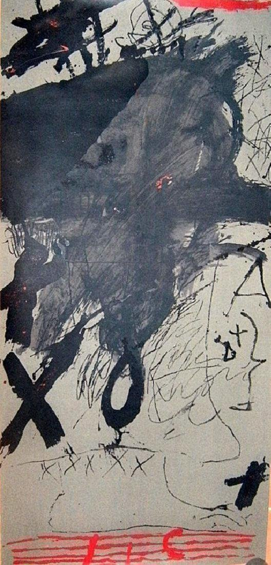 Antoni Tapies, Serigraph retouched by hand, signed by
