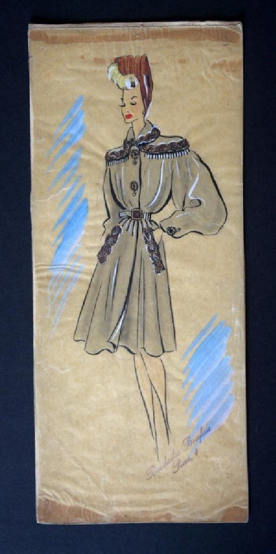 3 Handmade dressmaker drawings by a great artist