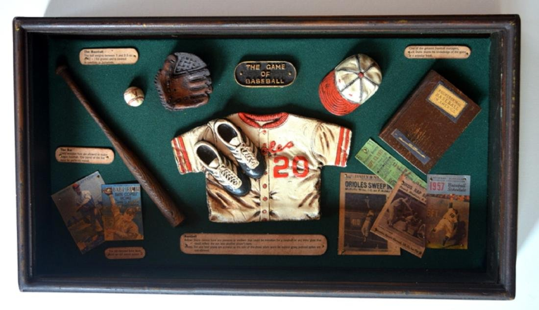 Baseball Collectible Shadow Box Sign Display Wood