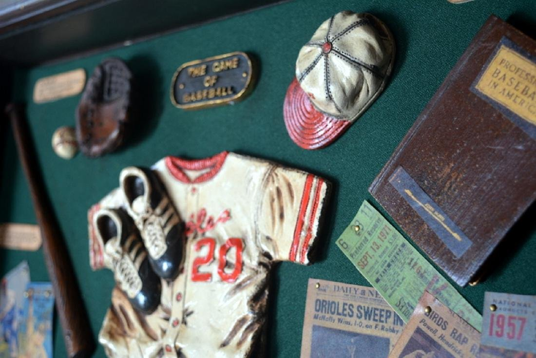 Baseball Collectible Shadow Box Sign Display Wood - 8