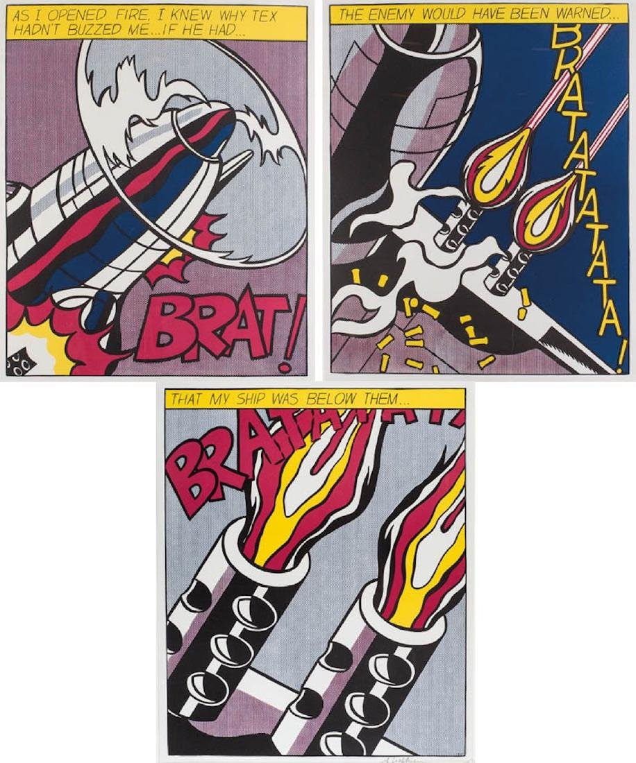 ROY LICHTENSTEIN As I Opened Fire (Triptych) , 1964