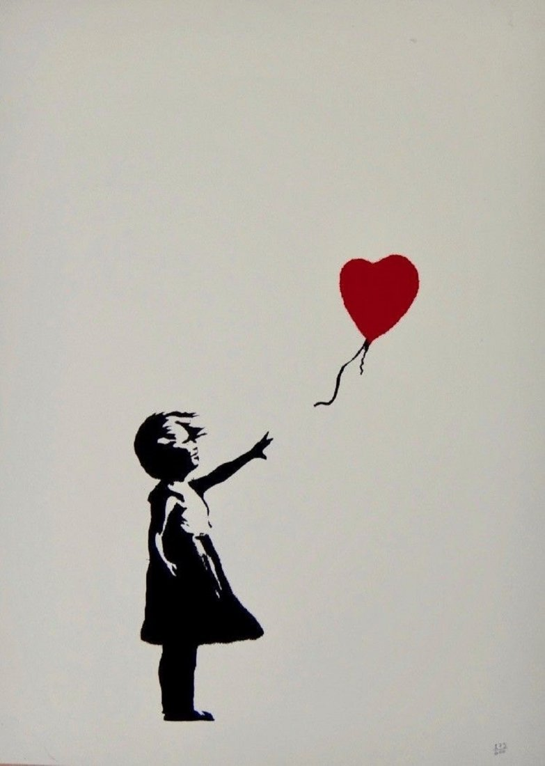 Banksy - Girl with red balloon - screen print serigraph