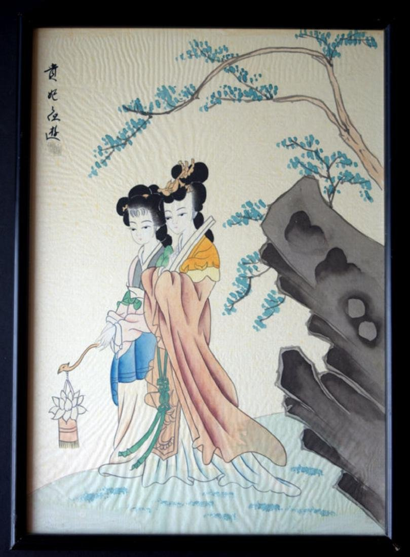 CHINA WATERCOLORS PAINTED IN SILK