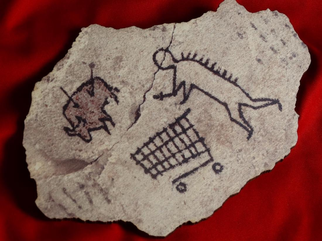 Banksy  wood- Prehistoric shopping