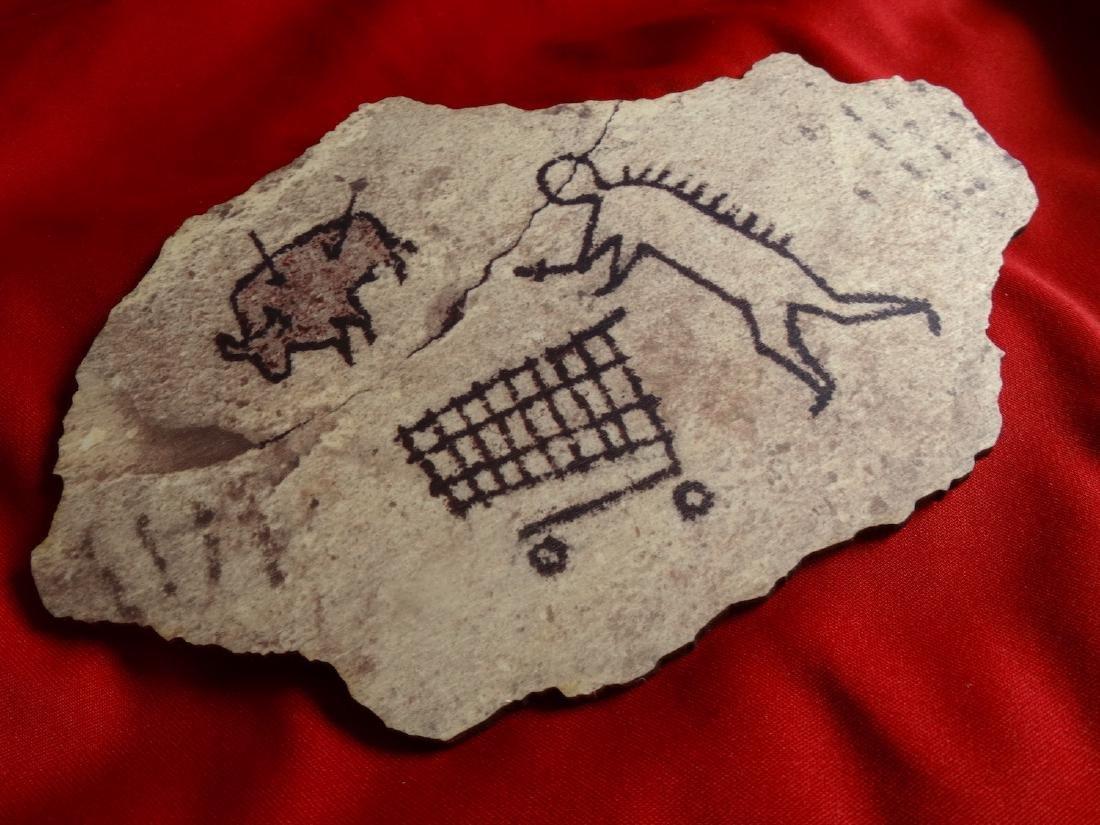 Banksy  wood- Prehistoric shopping - 3