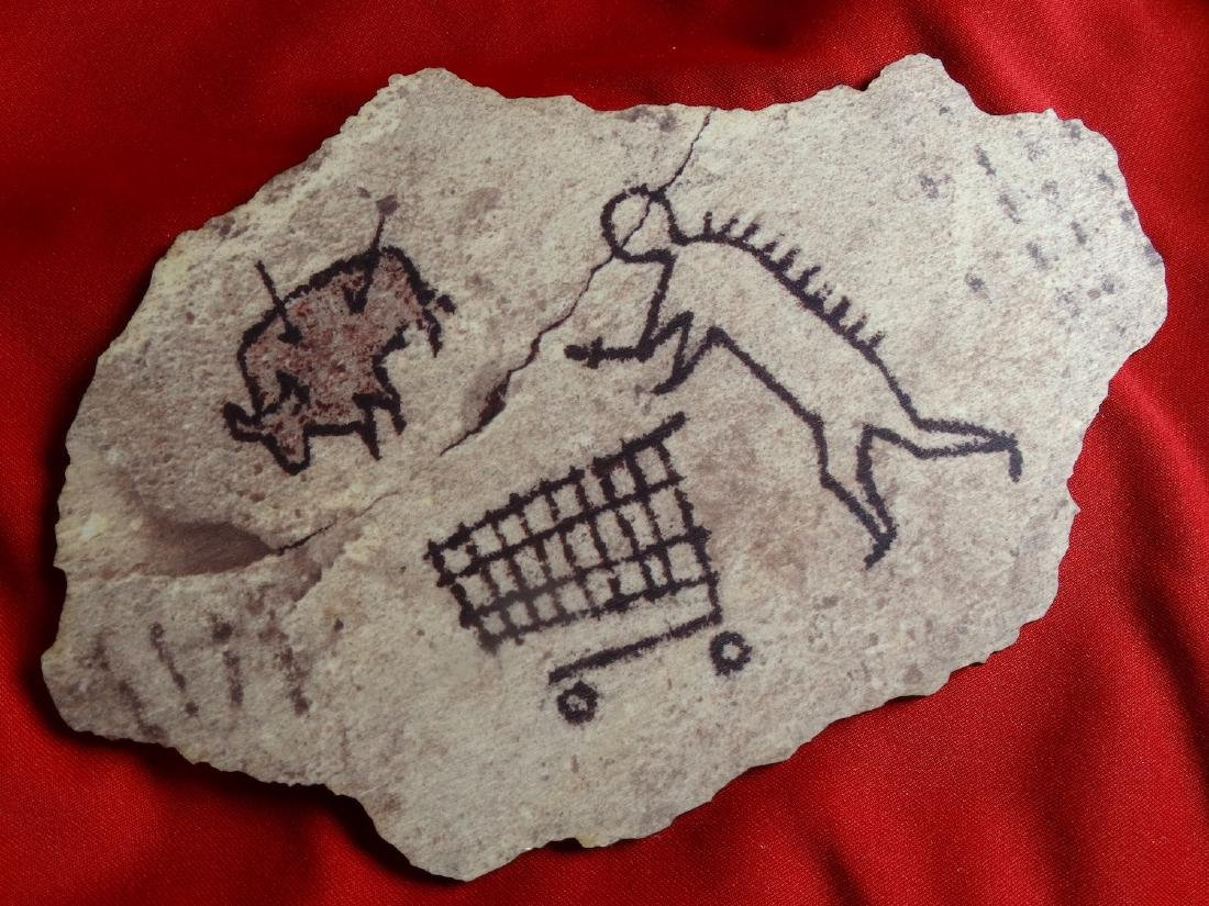 Banksy  wood- Prehistoric shopping - 5