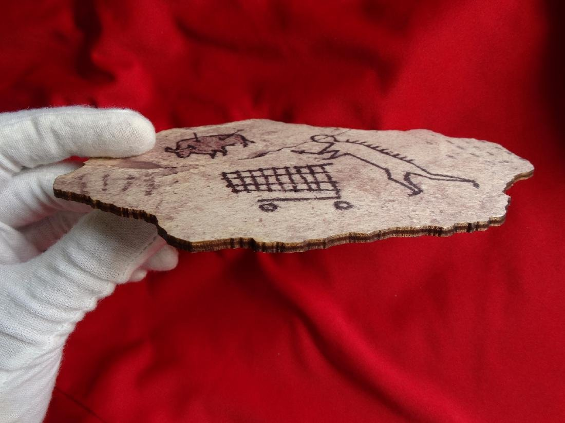 Banksy  wood- Prehistoric shopping - 7