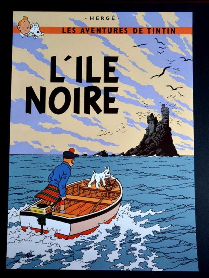 TINTIN POSTER LARGE - L´ILE NOIRE / ADVENTURES TIN