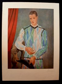 Pablo Picasso , Arlequin, signed by hand