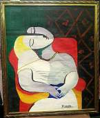 PABLO PICASSO , OIL ON CANVAS SIGNED & STAMPED