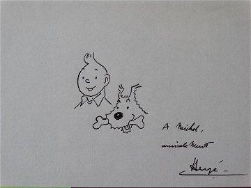 Tintin - Hergé- Tintin and Milu - Ink drawing