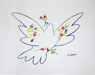 Pablo Picasso: Lithograph, Dove of Peace with flowers