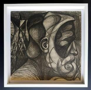 Josep Maria Subirachs. Charcoal drawing 45 x 46 cm
