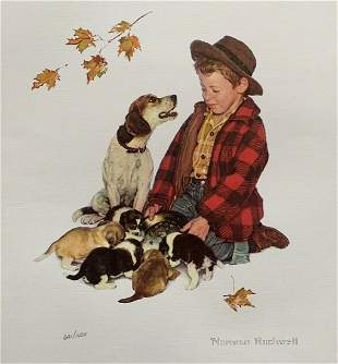 Norman Rockwell Plate Signed Ltd Ed Lithograph Boy Dog