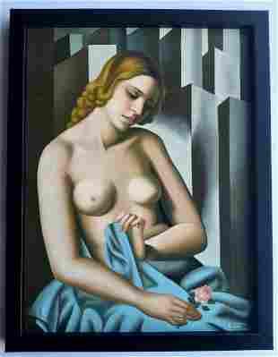 Tamara de Lempicka, oil on canvas handmade, signed.
