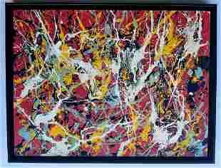 Jackson Pollock, oil on canvas handmade.
