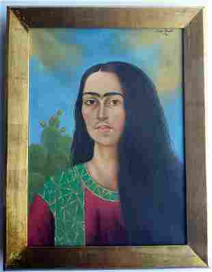 Frida Kahlo, oil on canvas handmade, signed
