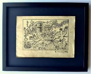 Keith Haring, Signed drawing