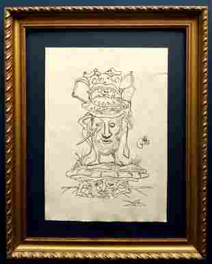 Salvador Dali drawing signed