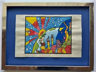 Peter Max drawing on paper signed