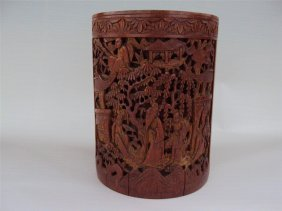 Chinese Carved Bamboo Brush Pot, Qing Dynasty 清