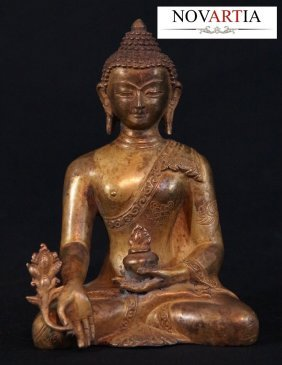 Magnificent Gold Gilt Bronze Seated Medicine Buddha