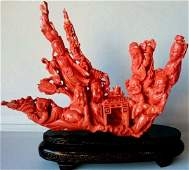 CHINESE CARVED RED CORAL SCULPTURE INMORTALS 1318G, COA