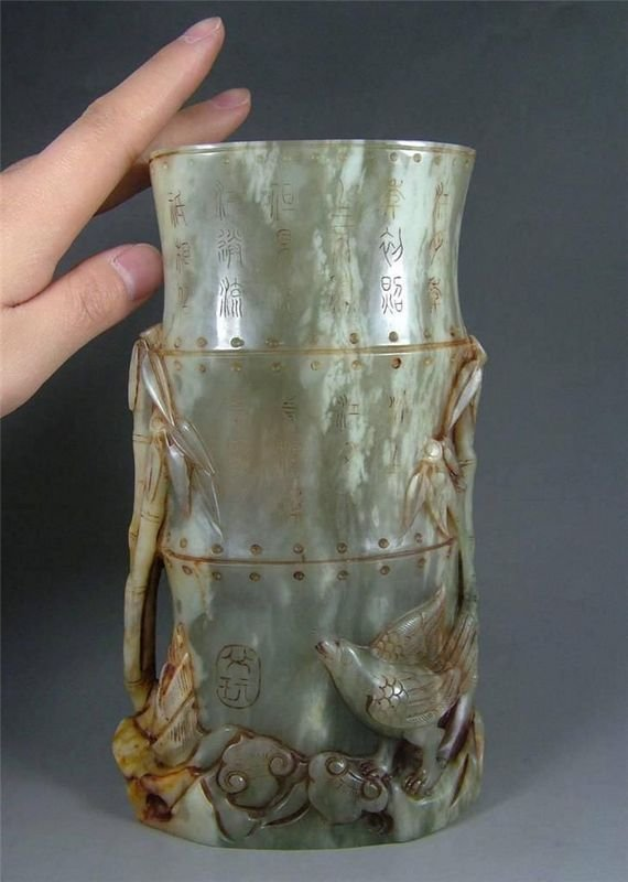 A Finely carved green jade, 19th , Qing dinasty. - 5