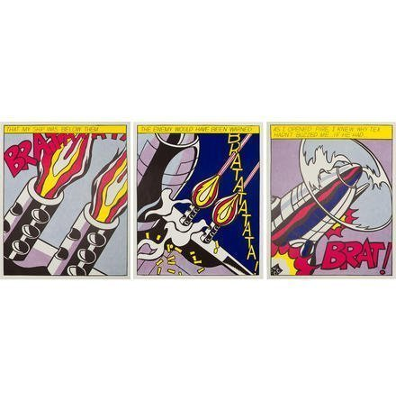ROY LICHTENSTEIN As I Opened Fire (Triptych) , 1966