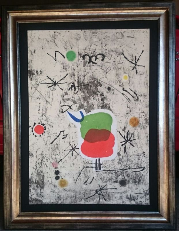 Joan Miro, Collage and etching, 1979