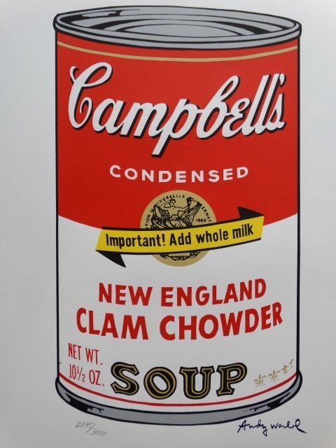 ANDY WARHOL, CAMPBELLS LITHOGRAPH SIGNED HAND NUMBERED - 3