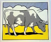 Roy Lichtenstein.Cow Triptych: Cow Going Abstract