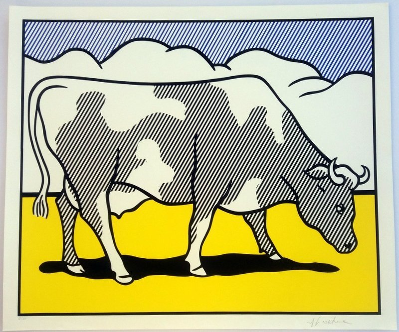 Roy Lichtenstein.Cow Triptych: Cow Going Abstract