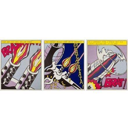 ROY LICHTENSTEIN As I Opened Fire (Triptych) , 1966