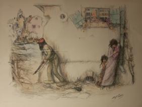 Abel Pann (1883-1963) Israeli. Color lithograph,