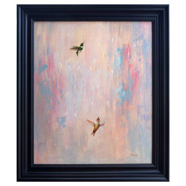 BIRDS IN FLIGHT-FRAMED OIL