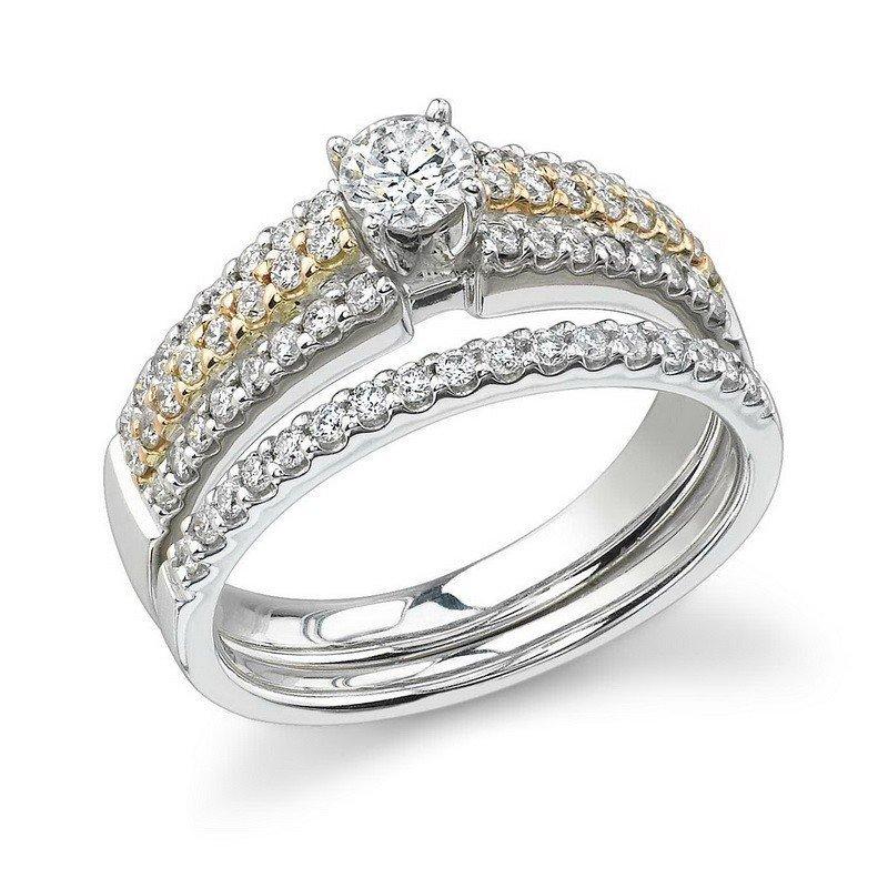 RING...14K WHITE/ROSE GOLD 6.3 GRAM 0.65CT DIAMOND