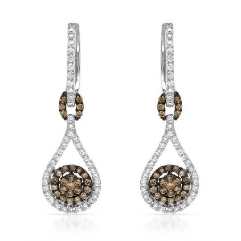 EARRINGS...14K WHITE GOLD 3.3 GRAM 0.53CT DIAMOND SI