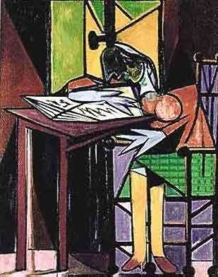 #125 Girl Reading At Desk Pablo Picasso Estate Signed
