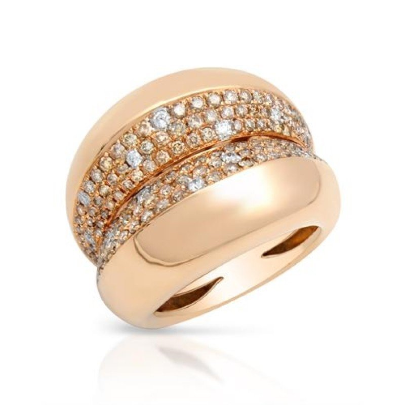 Ring...18k Rose Gold 7.3 Gram 1.23ct Brown Diamonds Si