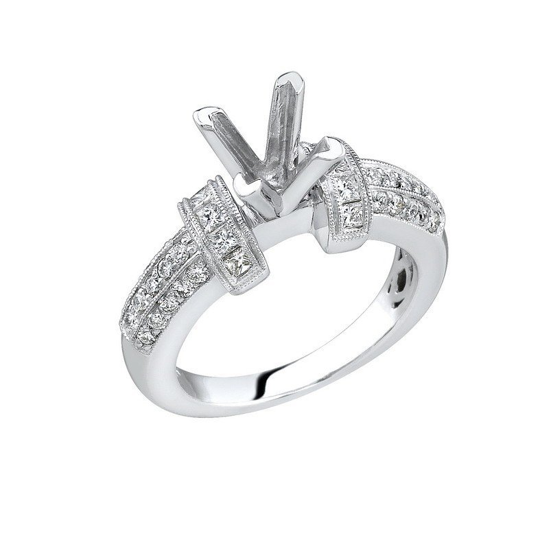 Ring...18k White Gold 8.2 Gram 0.37ct Diamond Si1-si2