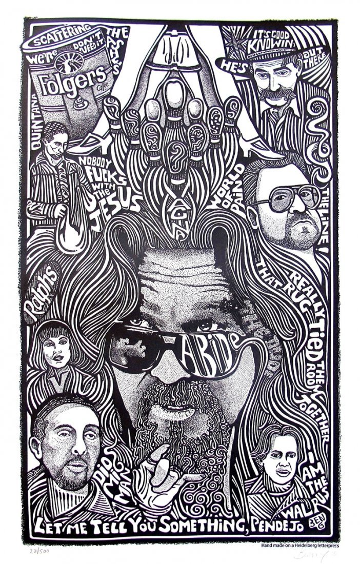 The Big Lebowski Movie Psychedelic Hand Signed