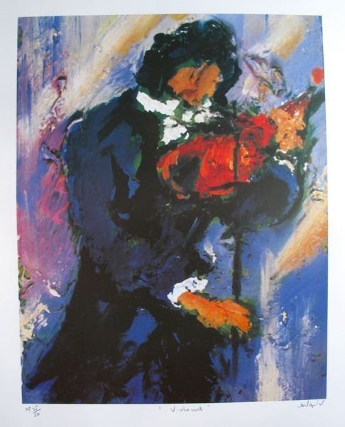 Duaiv Violinist Hand Signed Limited Edition Lithograph