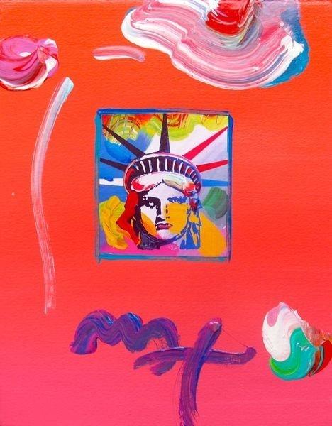Peter Max Liberty Head Ii Hand Signed Original Mixed