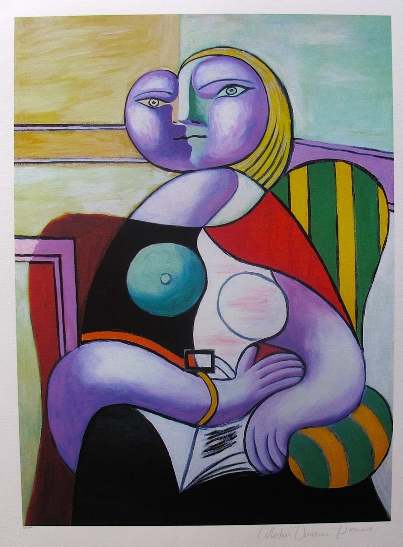 #127 Lady In Striped Green Chair Pablo Picasso Estate