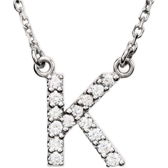 "14kt White Letter ""K"" 1/8 CTW Diamond 16"" Necklace"