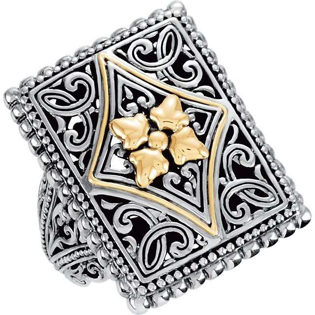 Sterling Silver & 18kt Yellow Fashion Ring Size 7