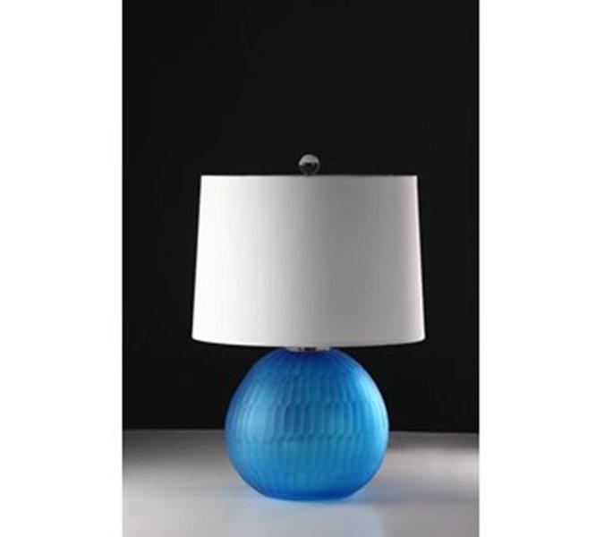 Hand Blown Glass Tablelamp-matte Aqua